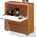 Mueble-Bar con barra abatible y 2 cajones cerezo