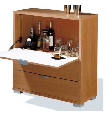 Mueble-Bar con barra abatible cerezo