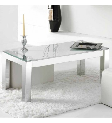 Mesa de centro elevable cristal blanco