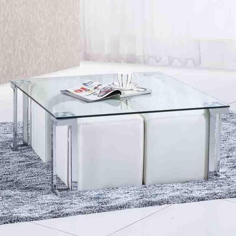 Mesa de centro cuadrada 90x90 con cristal