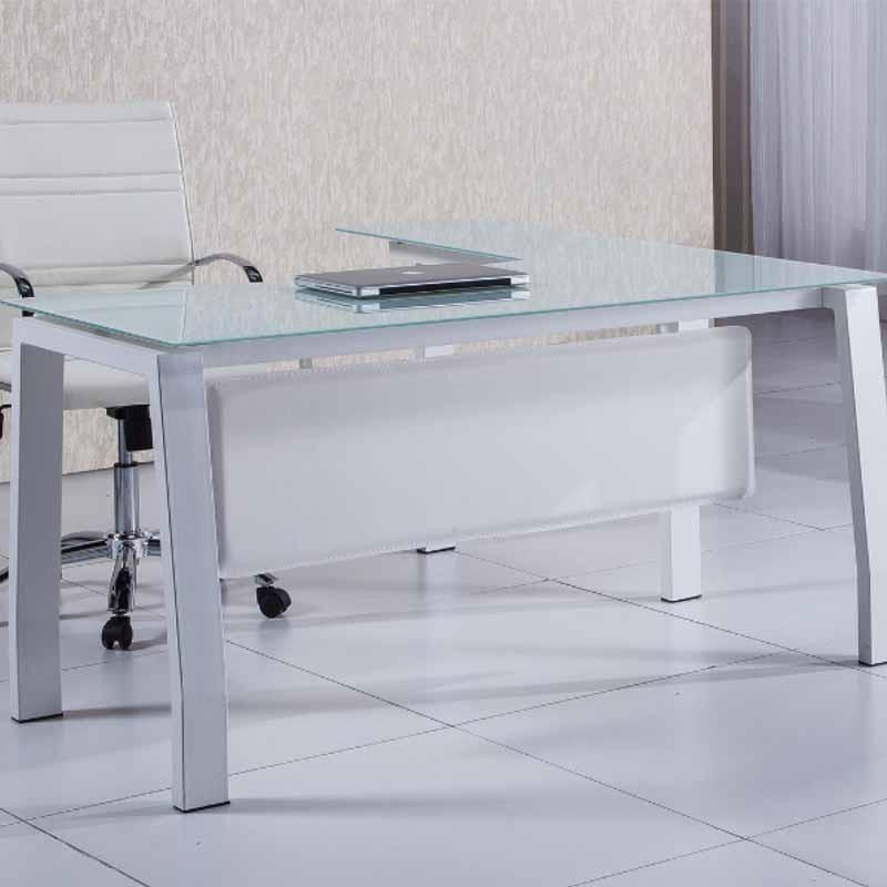 Mesa escritorio en L 150cm con cristal blanco