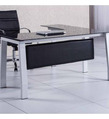 Mesa escritorio en L 150cm con cristal negro
