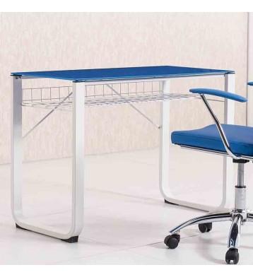 Mesa de estudio con cristal azul 100cm
