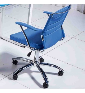 Silla sillon regulable giratorio. Polipiel azul