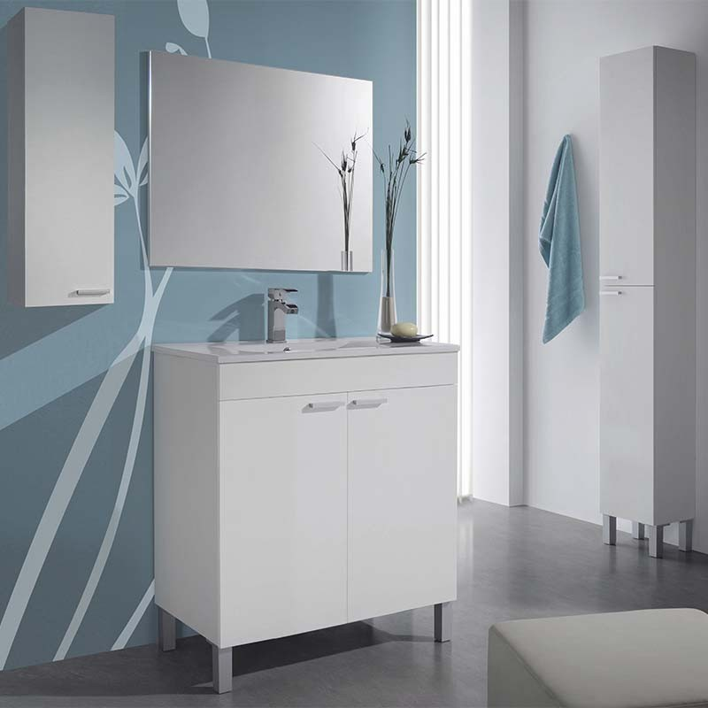 Pack mueble de ba o con espejo columna y armario blanco for Mueble con espejo para bano