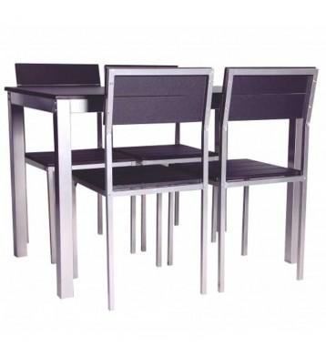 Conjunto Xobe Mesa+4 sillas en negro y gris