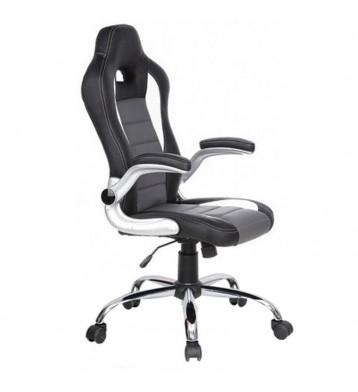Sillón oficina Racing para Gamers, tapizada en polipiel en color gris y negro estructura cromada y con ruedas