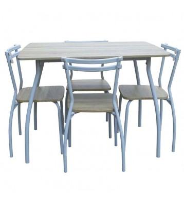 Pack Line + 4 sillas en color taupe y blanco 100x70x80 cm