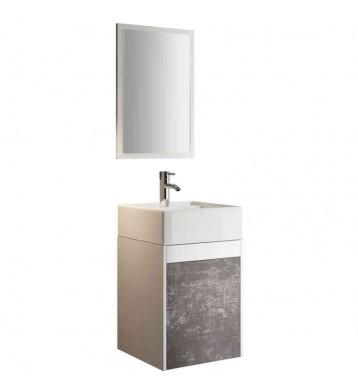 Mueble para baño o aseo aereo con lavabo cerámico y espejo, color blanco y pizarra