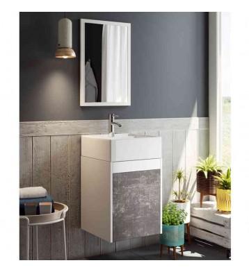 Mueble para baño o aseo aereo blanco y pizarra con lavabo cerámico y espejo
