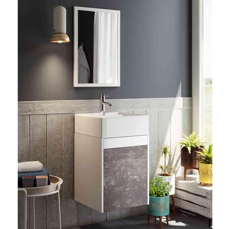 Mueble de ba o con lavabo y espejo blanco y pizarra for Mueble con espejo para bano