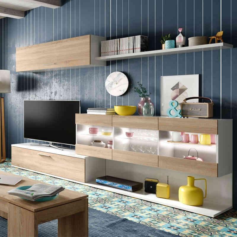 Mueble Salon TV blanco y canadian 84x260x41 con led - Miroytengo.es