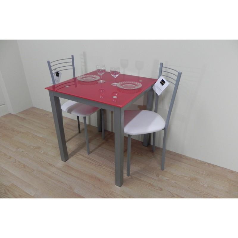 Pack mesa roja 70x70 + 2 sillas