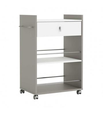 Mueble para microondas en color blanco y basalto con ruedas 90x59x38 cm