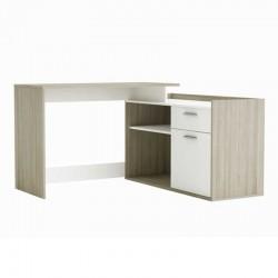 Escritorio con estante en color blanco y roble 122x123x60 cm
