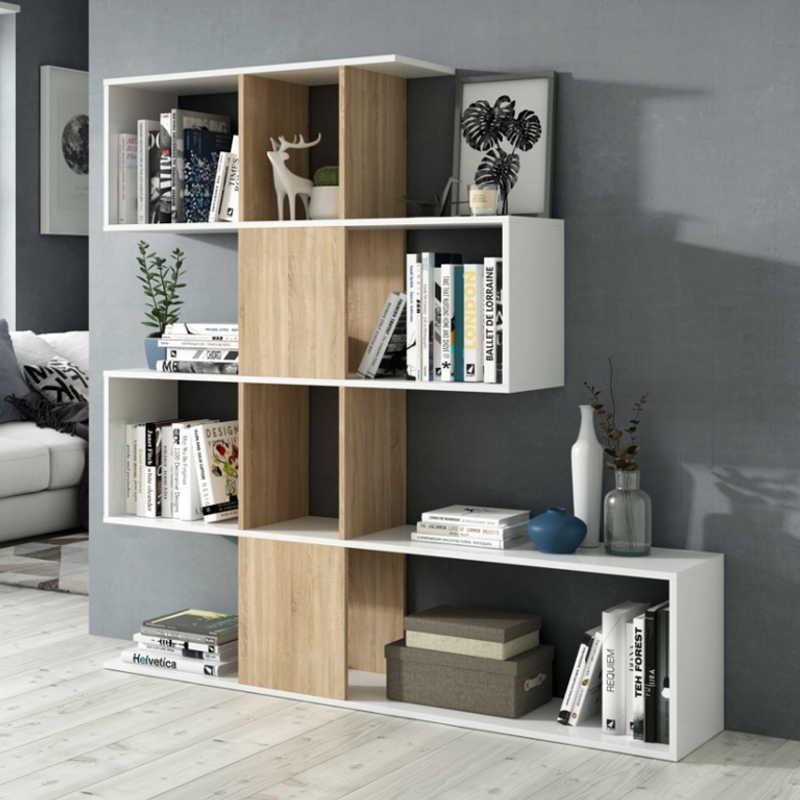 Estantera libreria forma zig zag color roble y blanco - Miroytengo.es