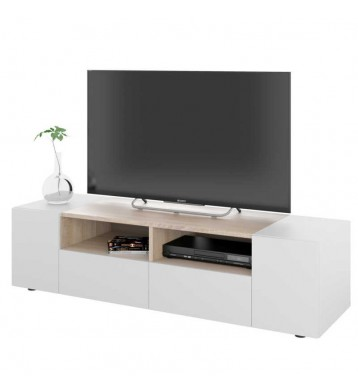Mueble TV color blanco artik y roble canadian 138 cm