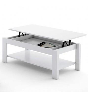 Mesa de centro elevable para salón color blanco 42X110 cm