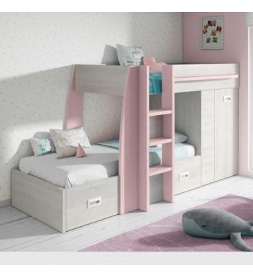 Cama tren rosa nube dormitorio infantil o juvenil 151x273x117 cm