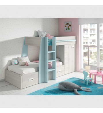 Cama litera tren para dormitorio infantil o juvenil color azul nube y blanco 151x273x117 cm