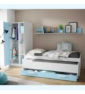 Pack dormitorio infantil o juvenil azul nube y blanco