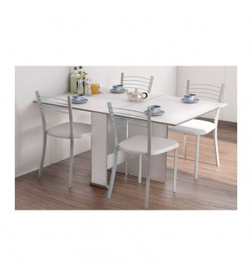 Pack cocina mesa extensible y 4 sillas color blanco