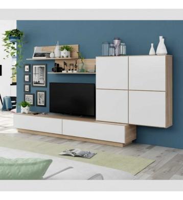 Mueble salón comedor Lue en color roble canadian y blanco brillo 157x250x42 cm