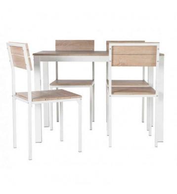 Conjunto Xobe de mesa+4 sillas en taupe y blanco