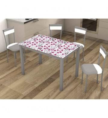 Pack mesa y 4 sillas cocina Raspberries