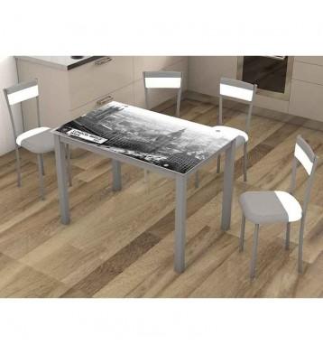 Pack mesa y 4 sillas serigrafía London