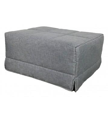 Pouf cama convertible. Acabado textil y color gris