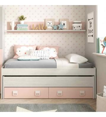 Cama nido + estanteria juvenil blanco alpes y rosa