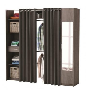 Kit armario extensible o vestidor con cortina y con espejo roble prata