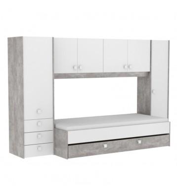Pack dormitorio juvenil Concrete cama con cajonera + armario puente
