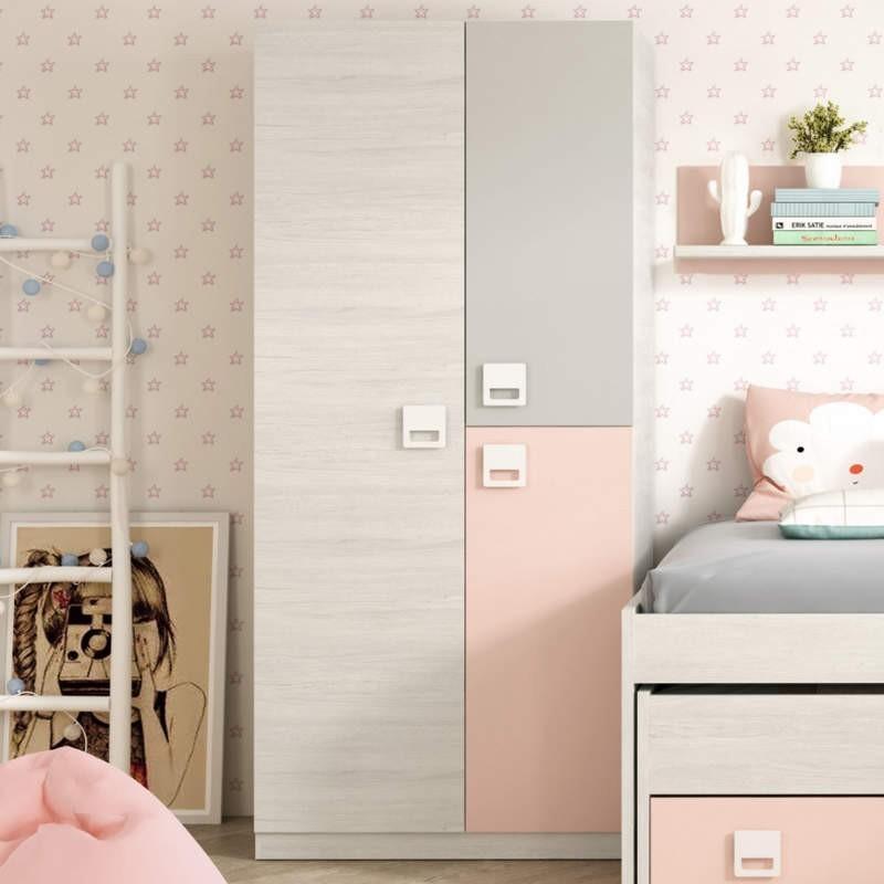 Armario juvenil 3 puertas blanco alpes y rosa