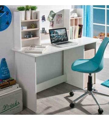 Mesa escritorio con altillo 135cm. Blanco y roble