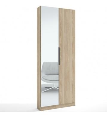 Zapatero Milano II efecto madera con espejo 2 puertas 70x20x180 cm