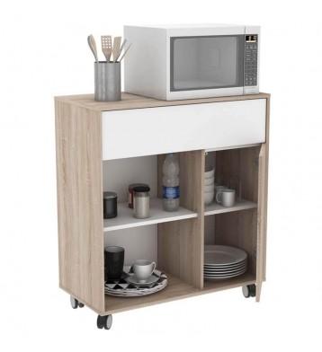 Mueble Microondas Sugar 1 cajón 1 hueco 1 armario con ruedas
