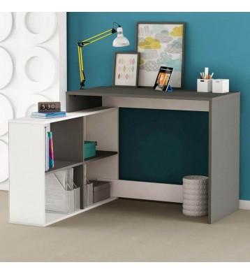 Escritorio Corner con estanteria anexa color blanco y roble