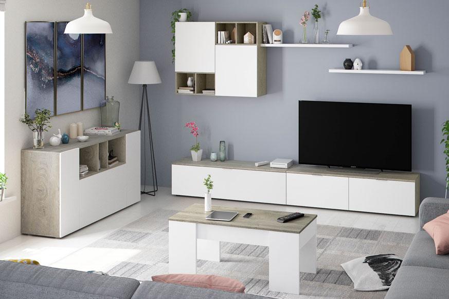 Salon compuesto por un aparador, un mueble de salón modular y una mesa de centro elevable acabados en color blanco artik (mate) y roble alaska.