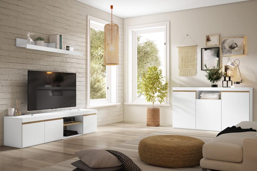 salón estilo japandi compuesto por un mueble modular y un aparador en color blanco y roble.