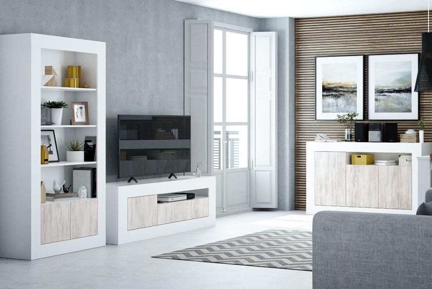 Pack de muebles de salón estilo lagom formado por una estantería a la derecha, una mesa de tv en el centro y un aparador en la parte derecha. Todo esto acabado en color roble y blanco.