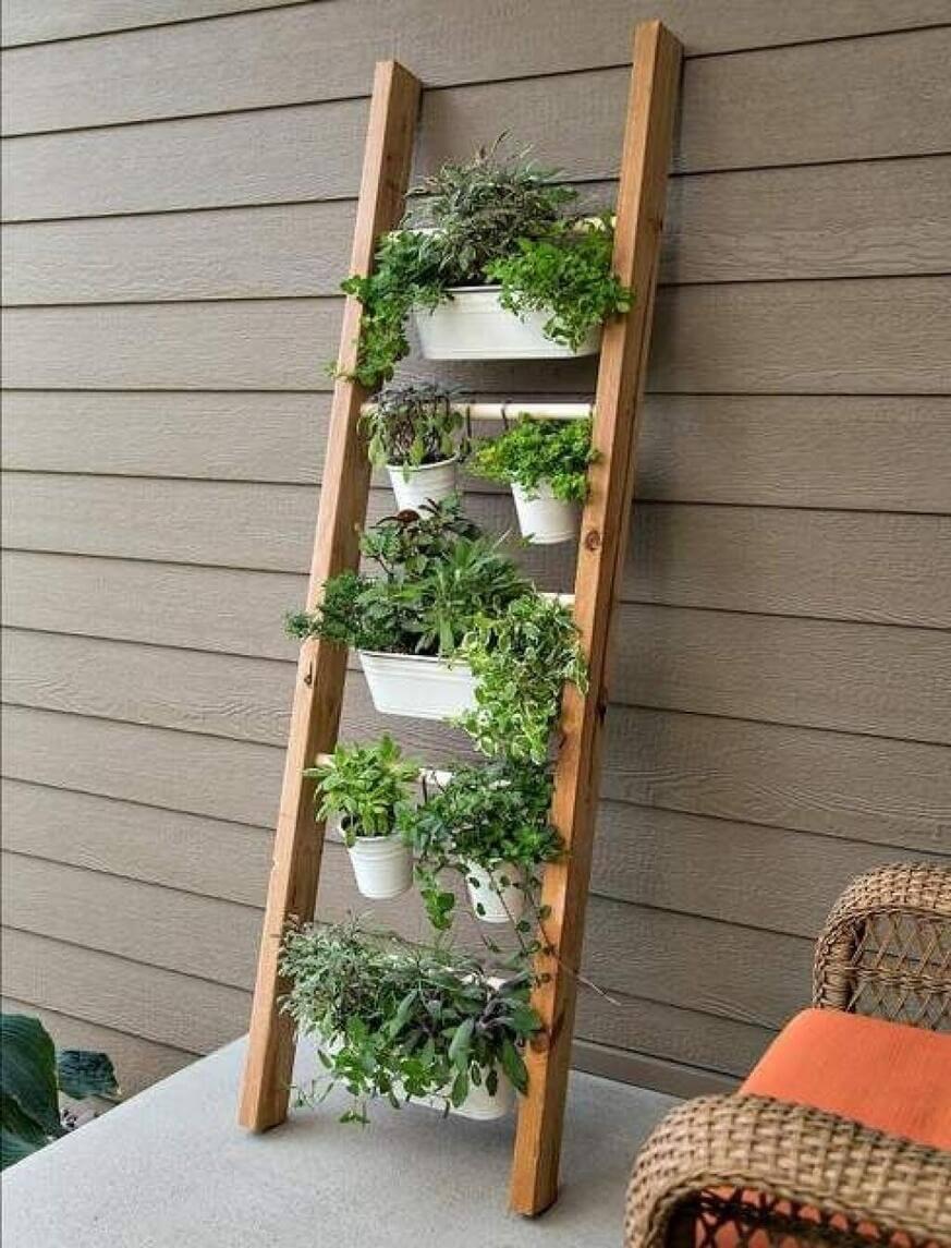 jardin vertical terraza con escalera de madera