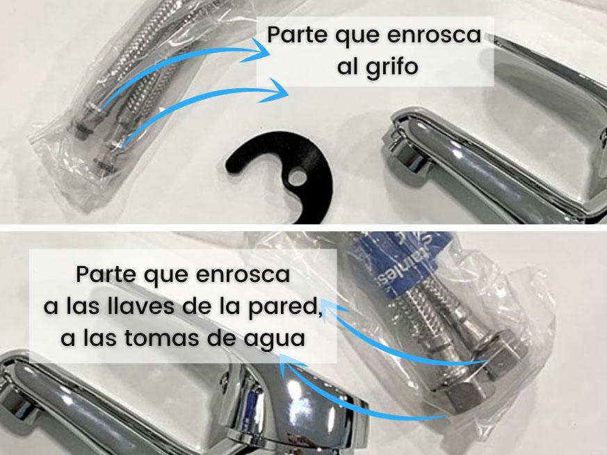 Partes de latiguillos, donde enroscar, grifo y tomas de agua