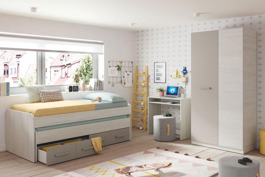 Muebles para habitaciones juveniles. A la izquierda una cama nido con dos cajones. En la derecha un escritorio con balda extraíble inferior y un armario de dos puertas. Todo ello en color gris y roble claro.