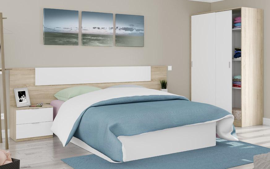 Dormitorio con una cama blanca con un cabezal en color roble y blanco. En la parte derecha aparece un armario de dos puertas correderas en los mismos colores.