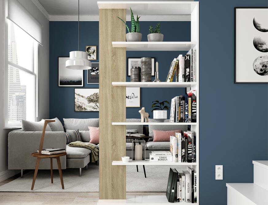 estanteria en color roble y blanco con cinco estantes