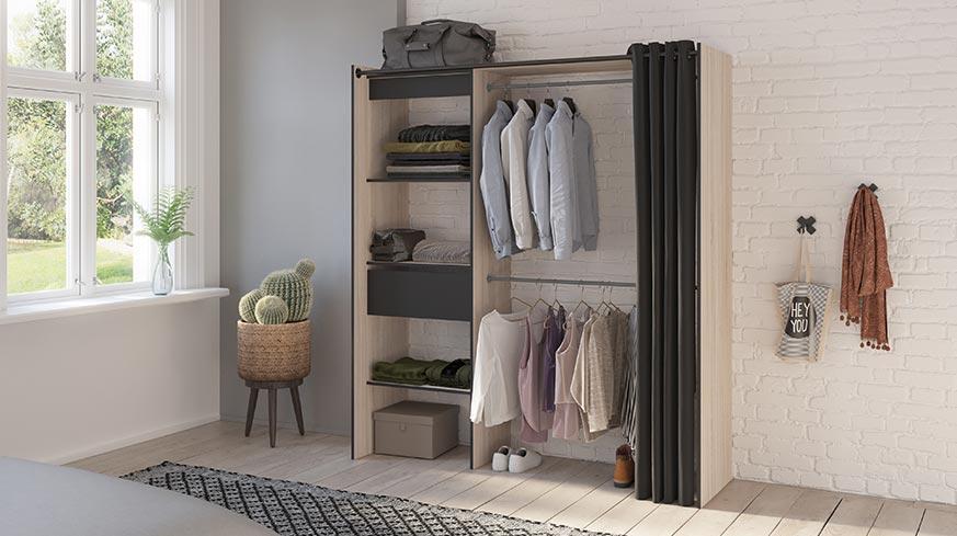 Vestidor abierto que sigue la tendencia de estilo industrial de decoración de interiores