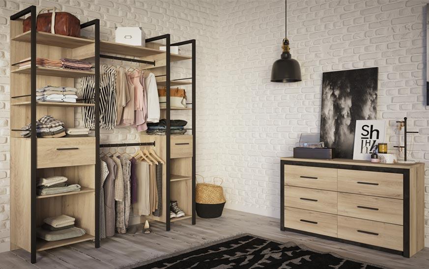 Vestidor abierto y cómoda cajonera para guardar la ropa con estilo, tendencia y organización en uno