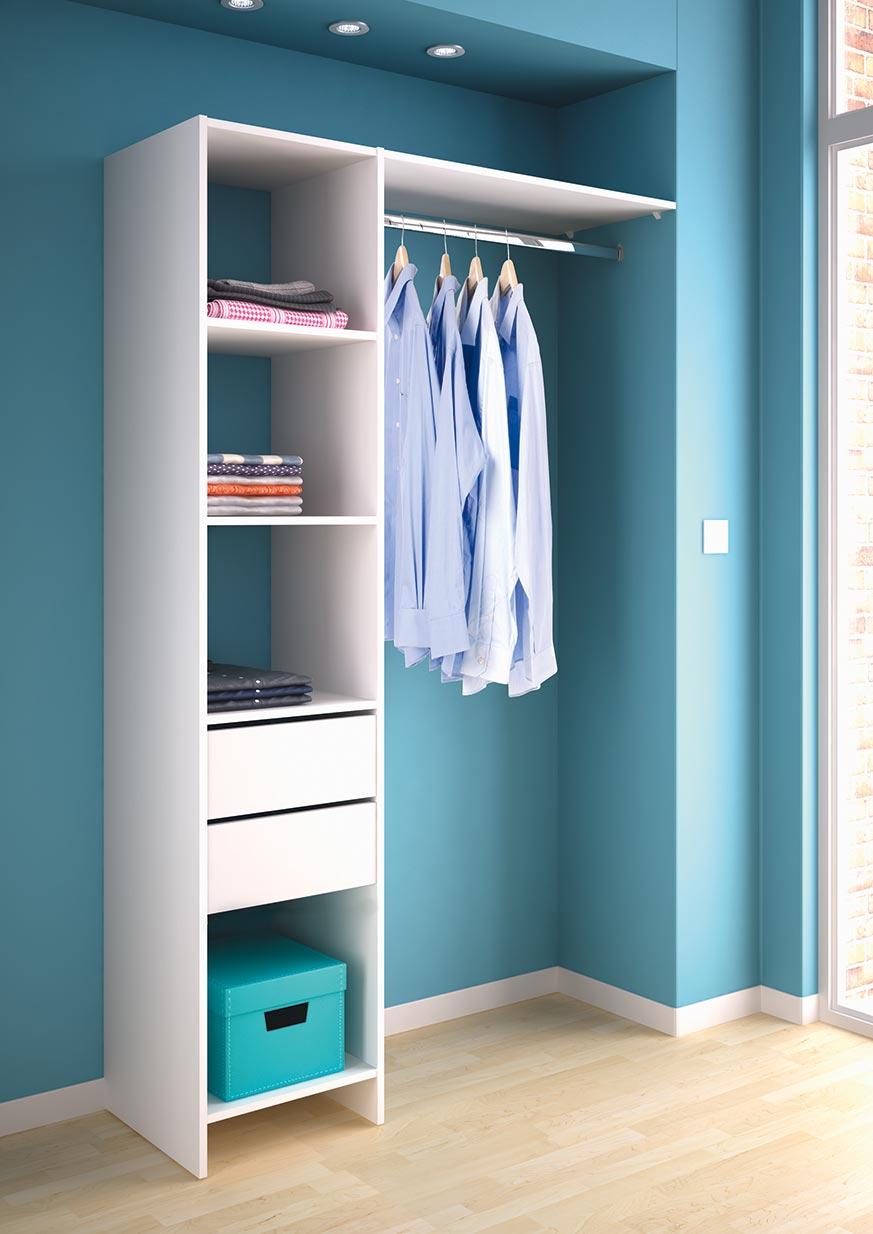 Vestidor abierto pequeño blanco, para dormitorios o roperos